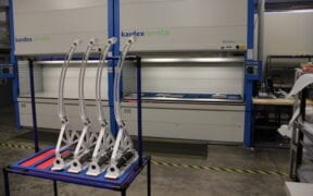 Aerospace assemblies in front of Kardex system copy